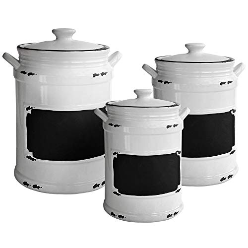 (American Atelier 1562159-RB Vintage Canister Set 3-Piece Ceramic Jars Chic Design With Lids for Cookies, Candy, Coffee, Flour, Sugar, Rice, Pasta, Cereal & More, 21x8x11