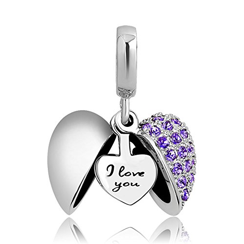 Charmed Craft Heart I Love You Charms Openable Crystal Charms Dangle Beads for Snake Chain Bracelets (Purple)