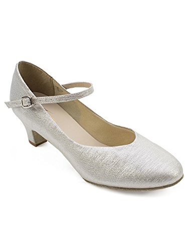 So Danca BL 146 Latein Salsa Rumba Tango Tanz Schuhe, Glanz-Spinnstoff und Chromledersohle Absatz 3,8 cm Silber