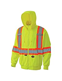 Pioneer V1060560-5XL High Visibility Safety Hoodie, Micro Fleece, Yellow-Green, 5XL