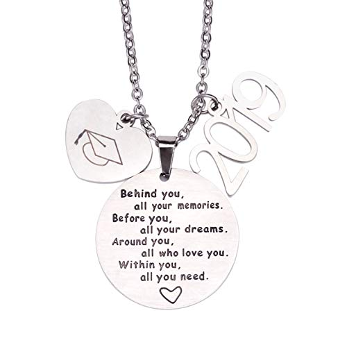 - 2019 Graduation Gift Necklace - Congrats Grad Stainless Steel Jewelry for Graduates