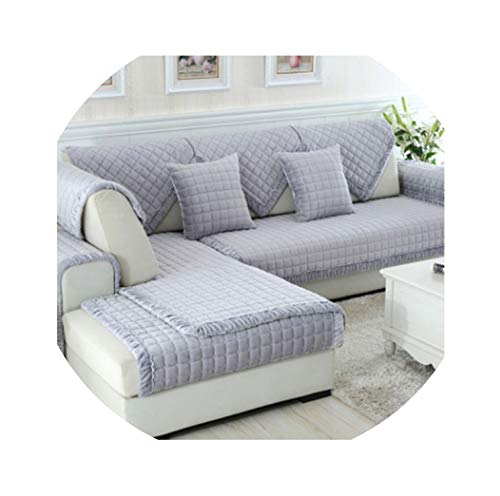 No Buy No Bye Plush Sofa Cover Gray Plaid White Plaid Non-Slip Combination Sofa Sofa Cover S42,Grey,70cmx70cm
