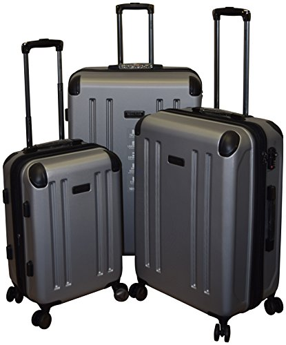 Kenneth Cole Reaction Roll - Kenneth Cole Reaction 8 Wheelin Collection Lightweight 3-PC Expandable Hardside Spinner Luggage Set (Silver)