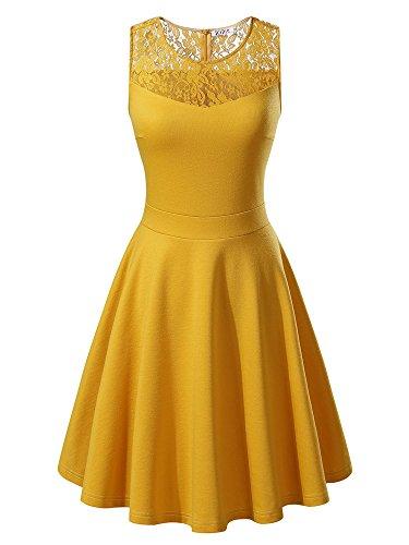KIRA Women's Sleeveless A-Line Evening Party Lace Cocktail Dress (Small, Mustard Yellow)