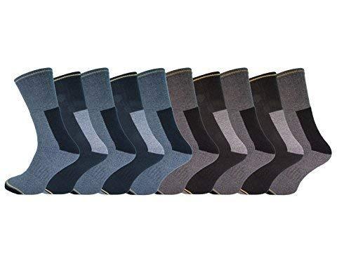 Socksmad 10 pares Mens Heavy Duty trabajo ocasional calcetines de algodón Tamaño 1114 Rich Acolchonadas Soporte Big Foot: Amazon.es: Ropa y accesorios
