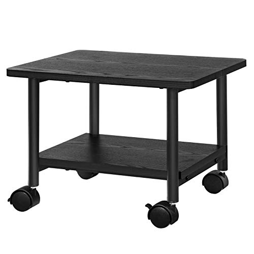 (SONGMICS Under Desk Printer Stand and Mobile Machine Cart with Shelf Heavy Duty Storage Rack for Office Home Black UOPS02B)