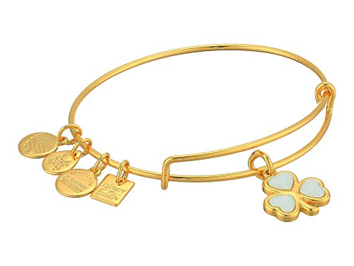 Alex and Ani Shamrock Charm Bangle Bracelet - Shiny Gold Finish