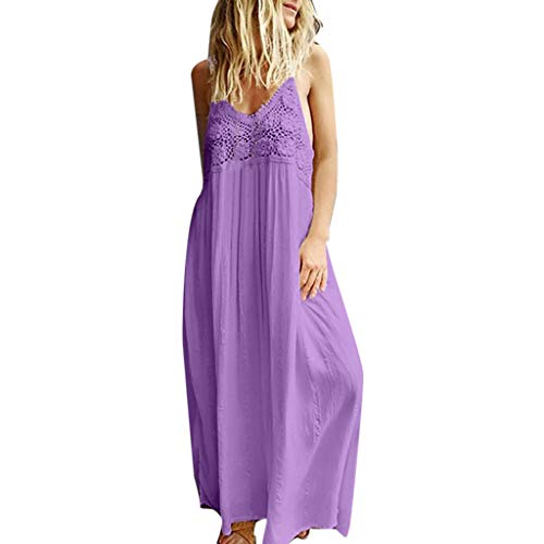 Women's Ladies Basic Solid Sleeveless Lace Patchwork Casual Long Maxi Dress Summer Dress & ANJUNIE(Purple,M)