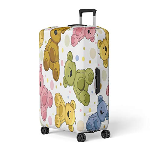 Pinbeam Luggage Cover Pattern Featuring Teddy Bears Cute Cartoon Clip Clipart Travel Suitcase Cover Protector Baggage Case Fits 22-24 inches