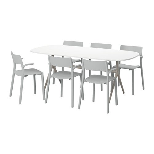 Ikea Table and 6 chairs, high gloss white, gray 6204.11520.1014