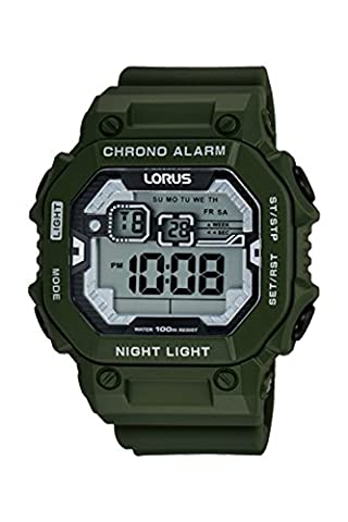 Lorus Digital Chronogrph by Seiko R2305LX-9 Military Green Silicone Watch (Digital Watch Men Seiko)