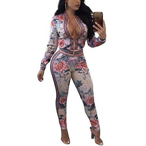 Hot Dreamparis Women's 2 Pieces Outfits Floral Prints Bodycon Sweatsuits Set Tracksuits
