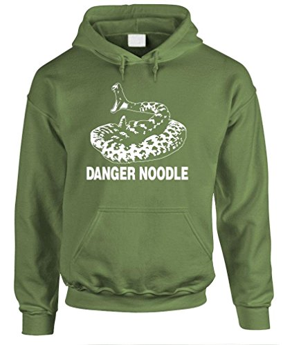 DANGER NOODLE - snake rattlesnake viper - Mens Hoodie, L, Military (Snake Hoodie)