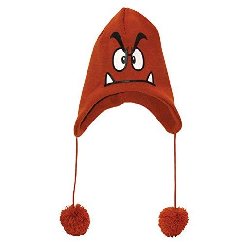 Bioworld Nintendo Super Mario Bros. Goomba Peruvian Laplander Knit Cap (Peruvian Knit Laplander)