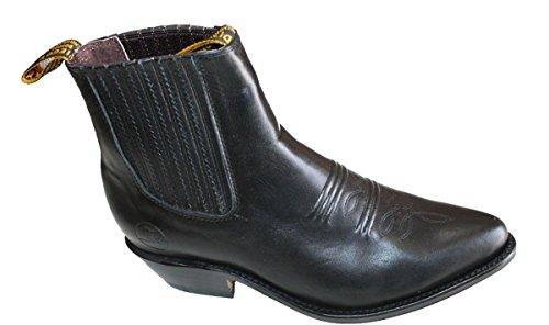 Mænd Ægte Koskind Kort Ankel Desgin Cowboystøvler Sort IomtyJ