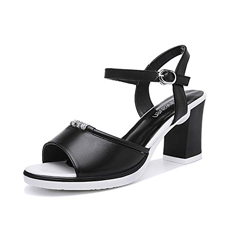 Sandals ZHIRONG Women's Summer Open Toe Fish Mouth Thick Heel Rhinestone One-button Buckle High Heels Roman Shoes 8CM (Color : Black, Size : EU39/UK6/CN39) Black