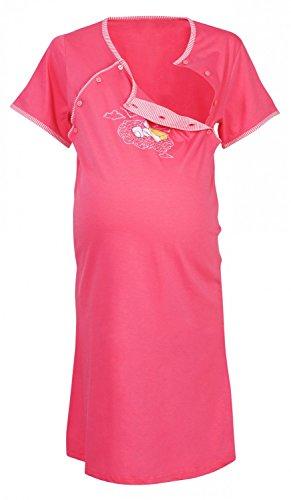 Happy Mama Womens Maternity Hospital Gown Robe Nightie Set Labour & Birth. 384p (Pink, US 8/10)
