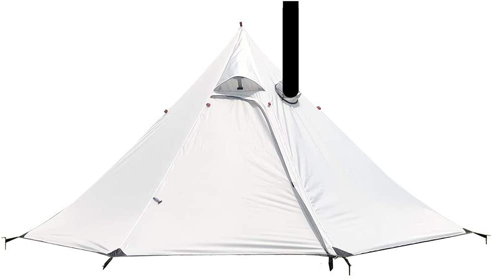 Tipi Hot Tent, 2 Person Backpacking Tent, Ultralight Hot Tent with Flue Pipes Window, Waterproof Teepee Tents for Outdoor Backpacking Camping Hiking