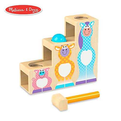 (Melissa & Doug First Play Pound & Roll Stairs Wooden 3 Piece Baby Kids Hammer & Ball Toy)