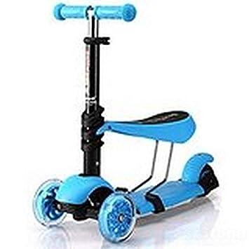 Monopatín para niños con ruedas de luces intermitentes, multifuncional 3 en 1, con asiento desmontable, para niños de 2 a 8 años, azul: Amazon.es: Deportes ...