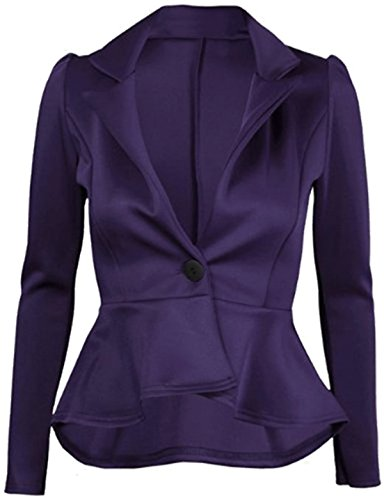 FashionMark Womens Plain Crop 1 Button Peplum Frill Blazer Jacket -