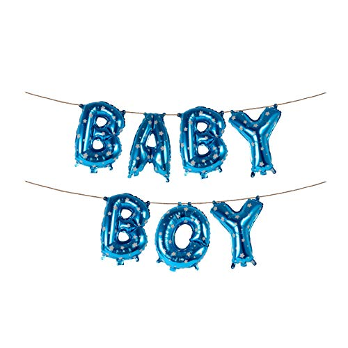 16 Inch Baby Boy Blue Star Banner Foil Letters Balloons for Baby Shower Royal Prince Birthday Gender Reveal Party Buntings -