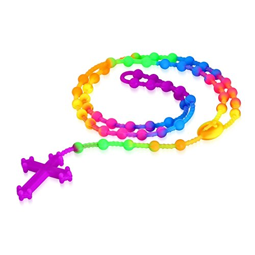 Fashion Colorful Fluorescent Rubber/ Silicone Cross Blessed Rosary Religious Christian Necklace Length: 24""