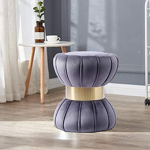 HH stool Nordic Vintage De en Fer Doré À La Maison en Métal Tabouret Ottoman Coiffeuse Chaise Repose-Pied en Velours Doux Tissu Enfant Lit Salon Canapé,D,40X44CM
