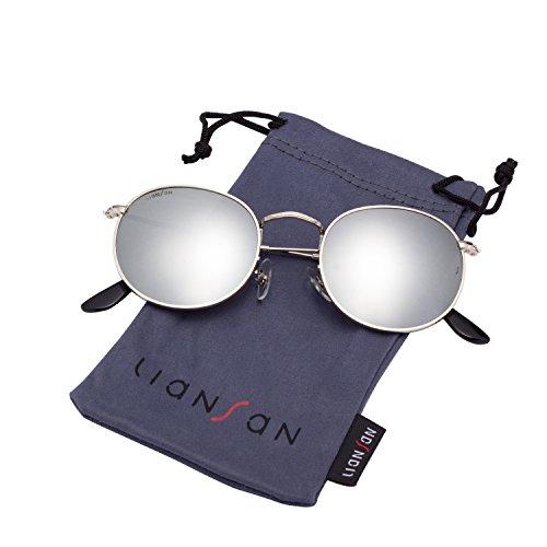 LianSan Classic Metal Frame Round Circle Sunglasses for Men and Women Glasses 3447 Silver Glass Lenses