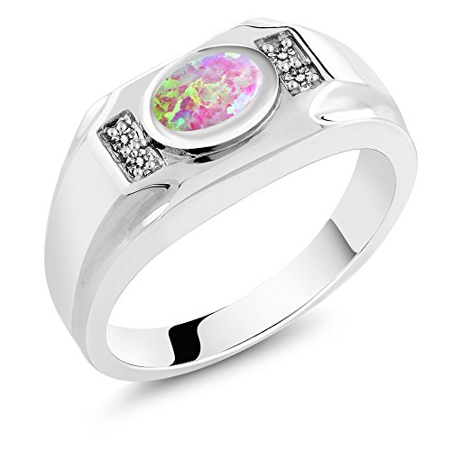 - Gem Stone King 1.18 Ct Oval Cabochon Pink Simulated Opal White Diamond 925 Silver Men's Ring (Size 10)