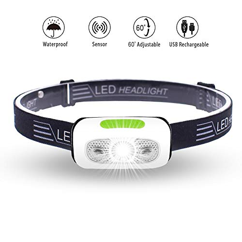 LED Headlamp Rechargeable, Vnina Running Headlamps Flashlight with Sensor Switch - 5 Models, High Lumen, Waterproof - Most Comfortable and Lightest Headlamp for Adults and Kids