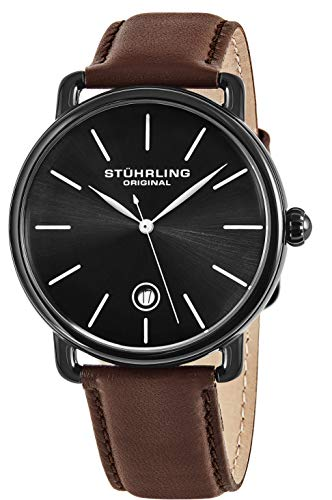 Stuhrling Original Men's 'Classic' Swiss Quartz Stainless Steel and Leather Dress Watch, Color:Brown (Model: 768.03)