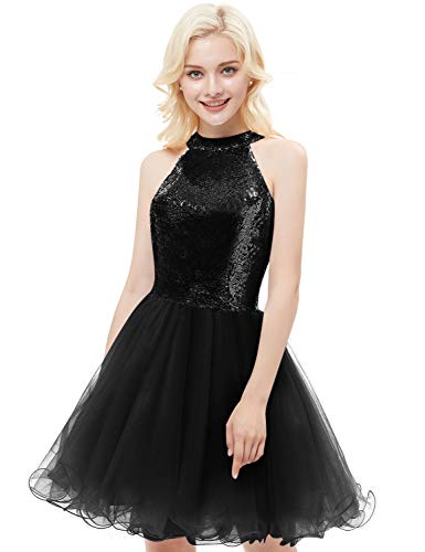 ned Homecoming Dresses 2018 Short Sleeveless Tulle Prom Gown Size 8 Black ()