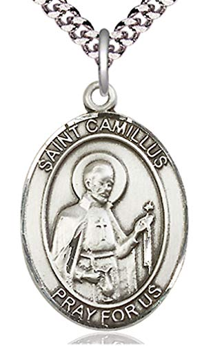 Heartland Store Men's Pewter Oval Saint Camillus of Lellis Medal + 24 inch Rhodium Plate Endless Chain