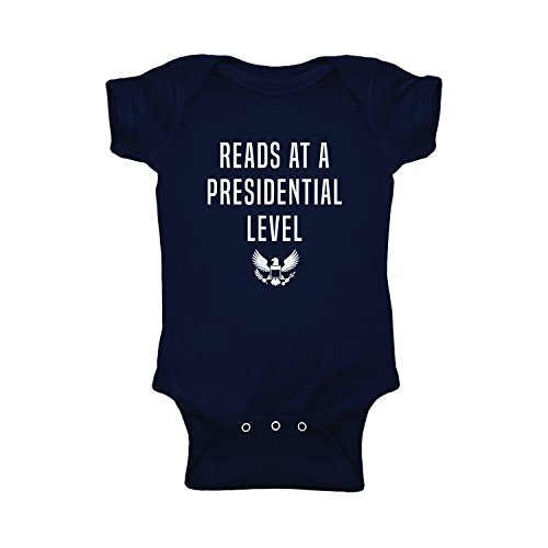 (Reads at a Presidential Level Baby Onesie - Funny Novelty Graphic Short Sleeve One-Piece Bodysuit for Infant Girls & Boys Navy)