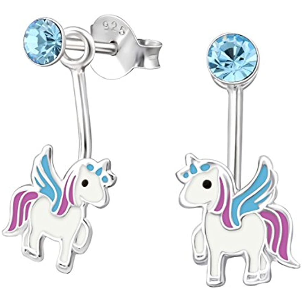 10c4f58c3 Stud Jewelry .925 Sterling Silver Unicorn And Blue Crystal Front ...