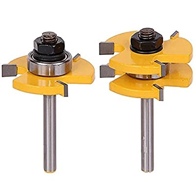 "2Pcs Tongue and Groove Router Bit, Grooving Router Bit, 3 Teeth T Shape, 1/4"""" Shank Wood Milling Saw Cutter New Woodworking Tools"