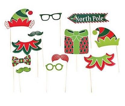 Paper Christmas Elf Photo Booth Stick Props - 12 pcs …