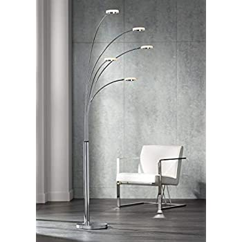Modern Arc Floor Lamp Satin Nickel White Flower Shade For