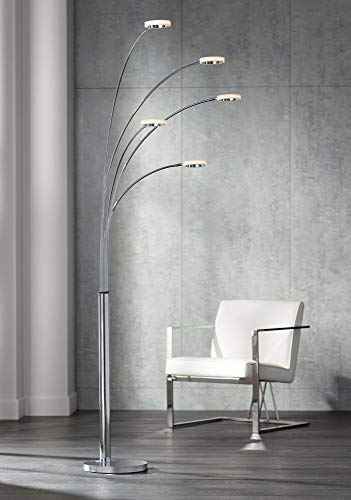 Aldo Modern Arc Floor Lamp LED 5-Light Chrome Acrylic Diffuser Rings for Living Room Reading Bedroom Office - Possini Euro Design