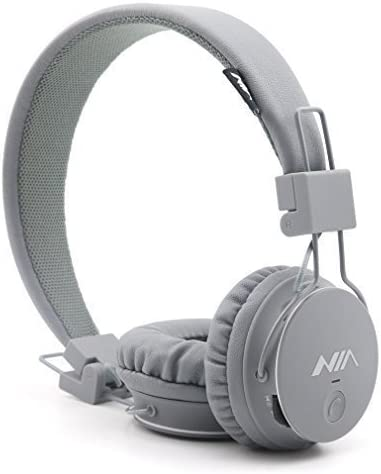 Kids Wireless Bluetooth 4.2 Headphones, GranVela X2 Lightweight Retro Foldable Multifunction Headphones with FM Radio, TF Card Mp3 Player and Microphone (Grey)