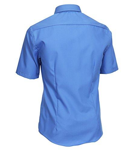 Venti - Slim Fit - Bügelfreies Herren Kurzarm Hemd in diversen Farben (001620), Kragenweite:43;Farbe:Blau (11)