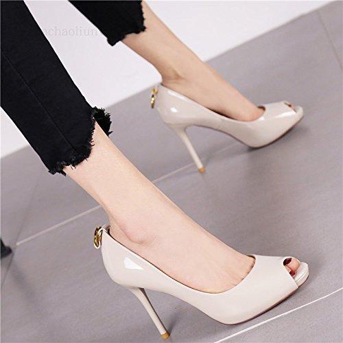 Naked Couleur YMFIE Style européen de Printemps et l'été de Nouveaux Poissons Laque Fine Bouche Peu Profondes et Hautes Chaussures de Talon Chaussures Simples Chaussures de Travail des Femmes. 36 EU