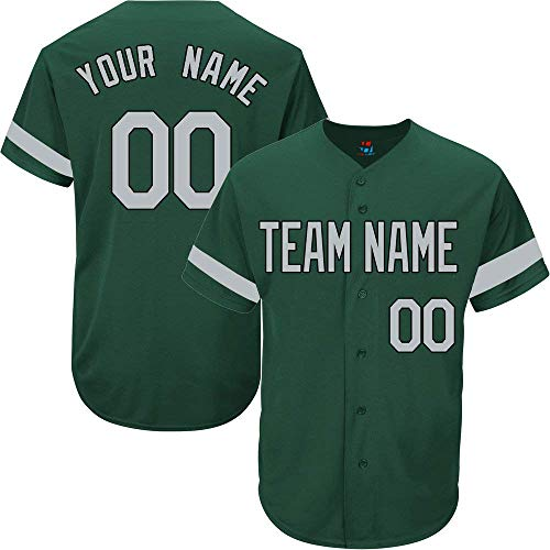 - Hunter Green Custom Baseball Jersey for Men Women Youth Full Button Embroidered Team Name & Numbers S-5XL Gray Black Striped