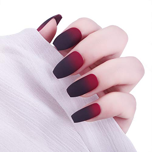 Laza 24 Pcs Colorful Fake Nails, Ballet Coffin Full Cover Gradient Medium Matte Artificial Acrylic Nails with Glue Sticker Nail File Wood Stick - Black Red ()
