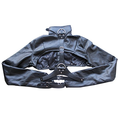 YiZYiF Faux Leather Cupless Jacket Long Sleeves Straight Gay Fetish Gimp Top Black (Sexy Gay Halloween Costumes)