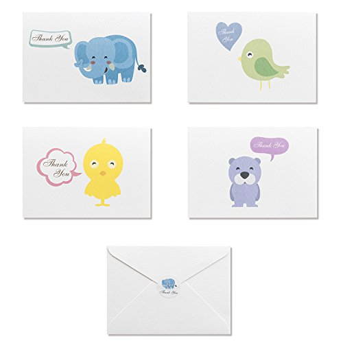 PaperDream Cute Baby Animals Thank You Cards - 32 Blank Note Cards Set - 4 Designs - Thank You Notes with White Envelopes and Stickers