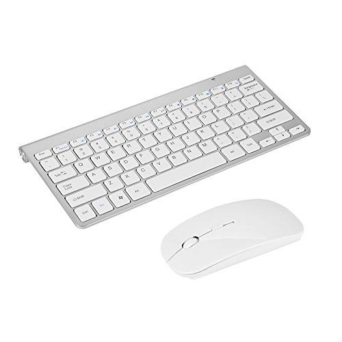 (Richer-R Slim Waterproof 2.4GHz Wireless Keyboard and Mouse Combo with 12 Multi-Media Keys for Desktop Laptop Apple MacBook PC Win XP/ 7/8 (Silver))