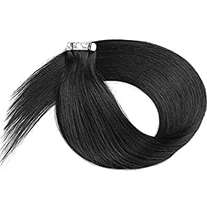Tape in Human Hair Extensions Black Silky Straight Human Hair Extensions Tape in Remy Human Hair Adhesive Tape 20 Pcs…
