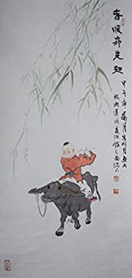 [Chinese Ink and Wash Painting]-The cowboy with early spring- 100% creative by Master Song - 40.55 x19.29 inches